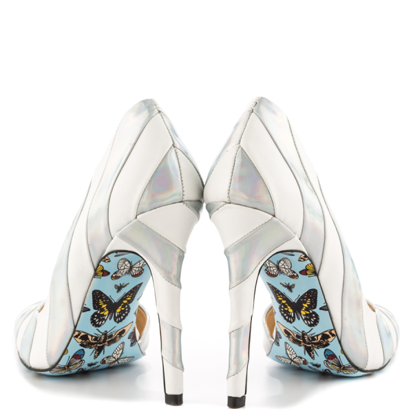 Silver And White Floral Stiletto Heels Pointy Toe Pumps For Women image 2