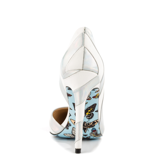 Silver And White Floral Stiletto Heels Pointy Toe Pumps For Women image 3