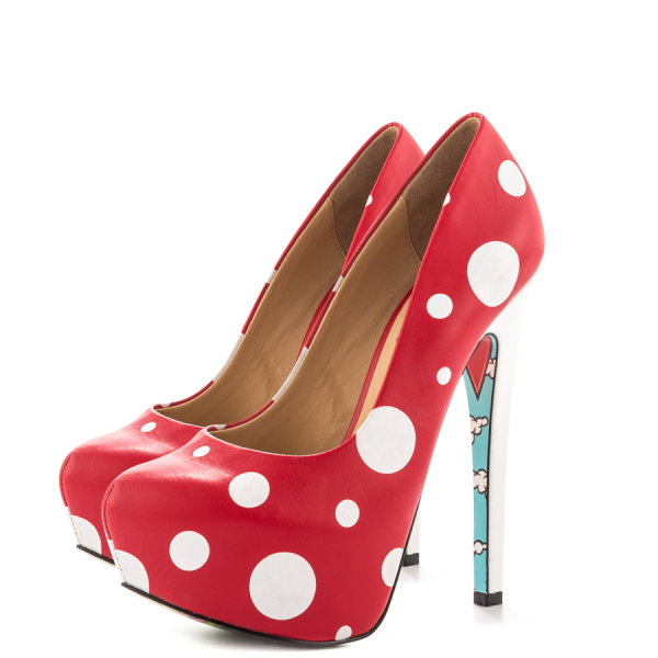 Red Santa Claus Print Stiletto Heels Almond Toe Platform Shoes image 1