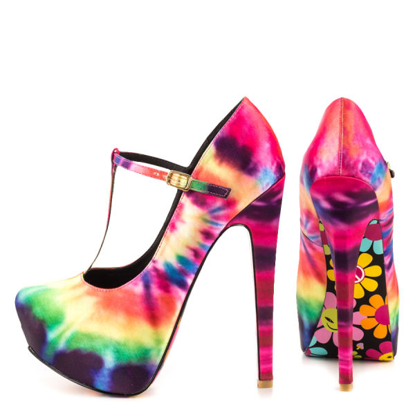 Multi-Color Heels T Strap Pumps Stiletto Heel Platform Shoes image 1
