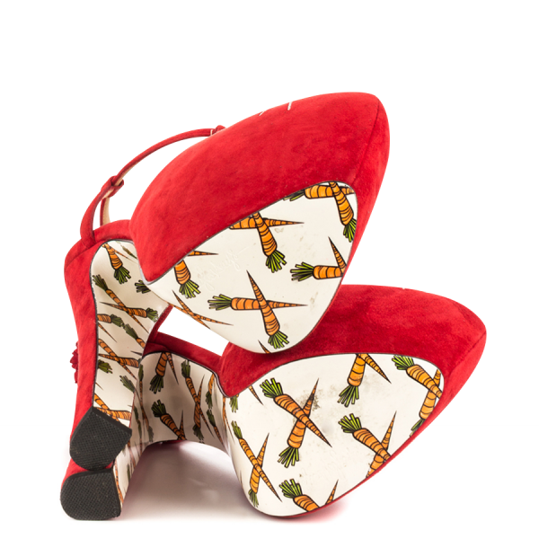 Women's Red Cute T-Strap Sandals Floral Heels Slingback Shoes image 2