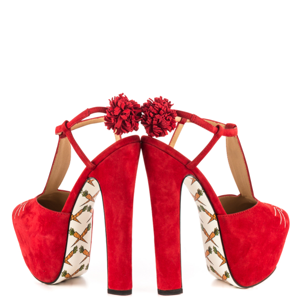 Women's Red Cute T-Strap Sandals Floral Heels Slingback Shoes image 3