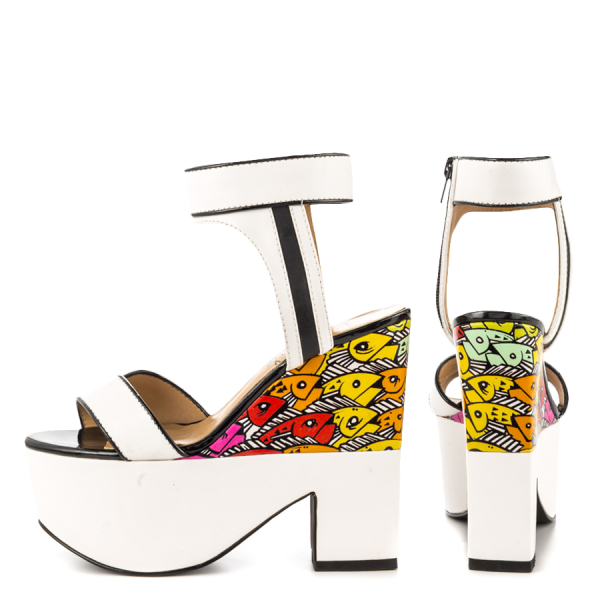 White and Black Wedge Sandals Floral Printed Ankle Strap Shoes image 1