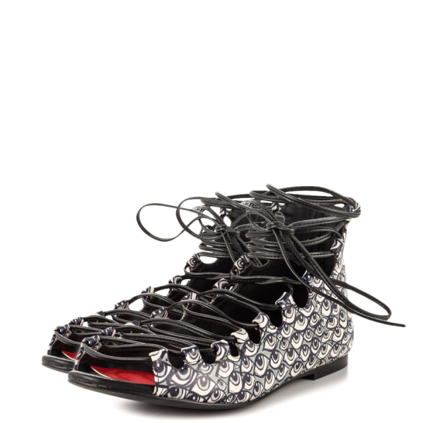 Black Eyes Strappy Shoes Open Toe Lace up Flats for Halloween image 1
