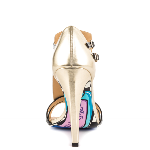 Women's Champagne and Black Poker T-Strap Sandals Open Toe Cone Heels image 3
