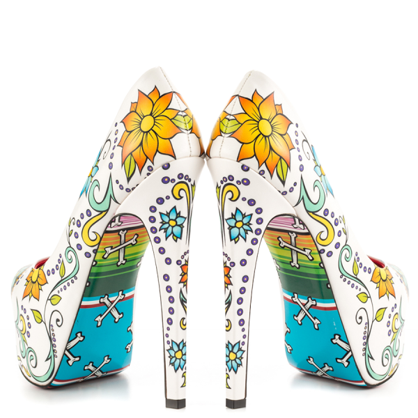 Women's Cute Flower Printed Stiletto Heels Almond Toe Platform Heels image 2