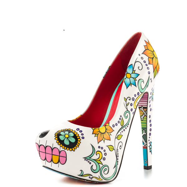 Women's Cute Flower Printed Stiletto Heels Almond Toe Platform Heels image 5