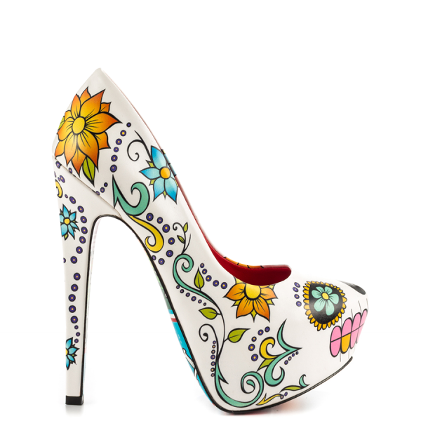 Women's Cute Flower Printed Stiletto Heels Almond Toe Platform Heels image 6