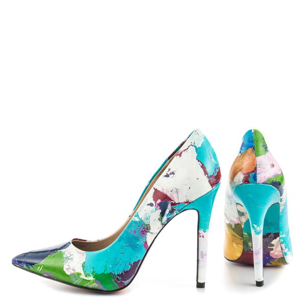 Graffiti Printed 4 Inch heels Pointy Toe Stiletto Heels Pumps For Women  image 1