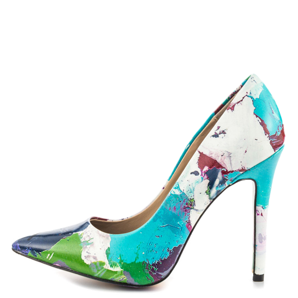 Graffiti Printed 4 Inch heels Pointy Toe Stiletto Heels Pumps For Women  image 4