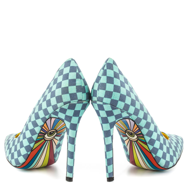 4 Inch Heels Blue Plaid Printed Pointy Toe Stiletto Heels Pumps for Women  image 3
