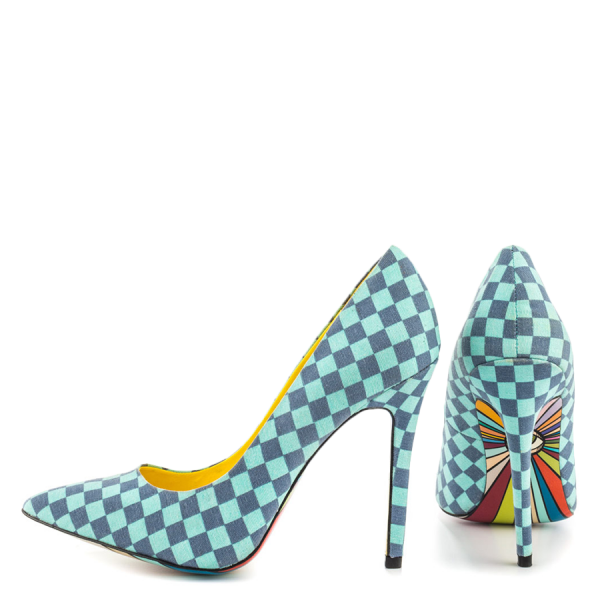 4 Inch Heels Blue Plaid Printed Pointy Toe Stiletto Heels Pumps for Women  image 1