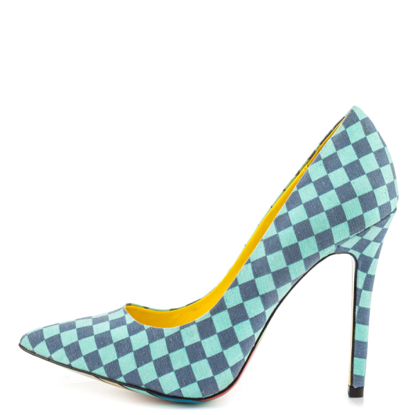 4 Inch Heels Blue Plaid Printed Pointy Toe Stiletto Heels Pumps for Women  image 4