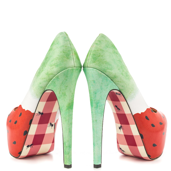 Women's Cute Watermelon Printed Stiletto Heels Almond Toe Platform Shoes image 4