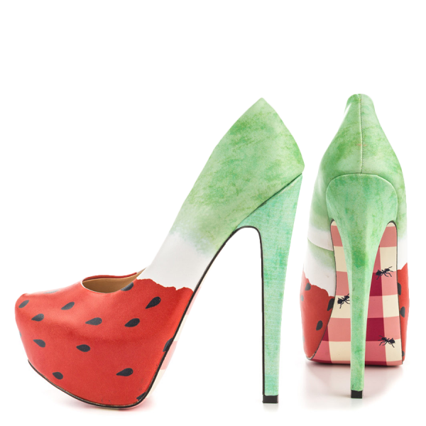 Women's Cute Watermelon Printed Stiletto Heels Almond Toe Platform Shoes image 3