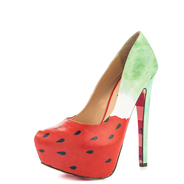 Women's Cute Watermelon Printed Stiletto Heels Almond Toe Platform Shoes image 5