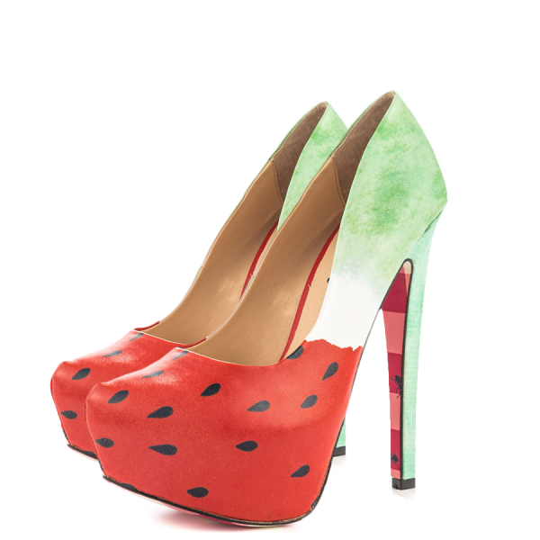 Women's Cute Watermelon Printed Stiletto Heels Almond Toe Platform Shoes image 1
