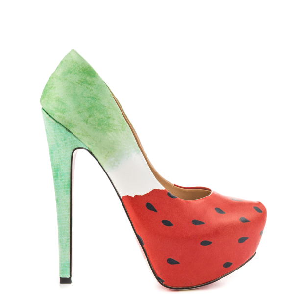 Women's Cute Watermelon Printed Stiletto Heels Almond Toe Platform Shoes image 6