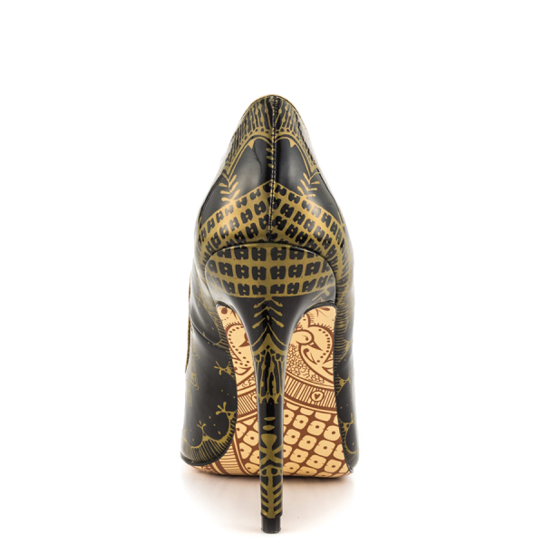 Black and Gold 4 Inch Heels Floral Printed Pointy Toe Stiletto Heels Pumps image 2