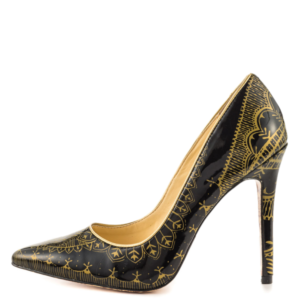 Black and Gold 4 Inch Heels Floral Printed Pointy Toe Stiletto Heels Pumps image 4