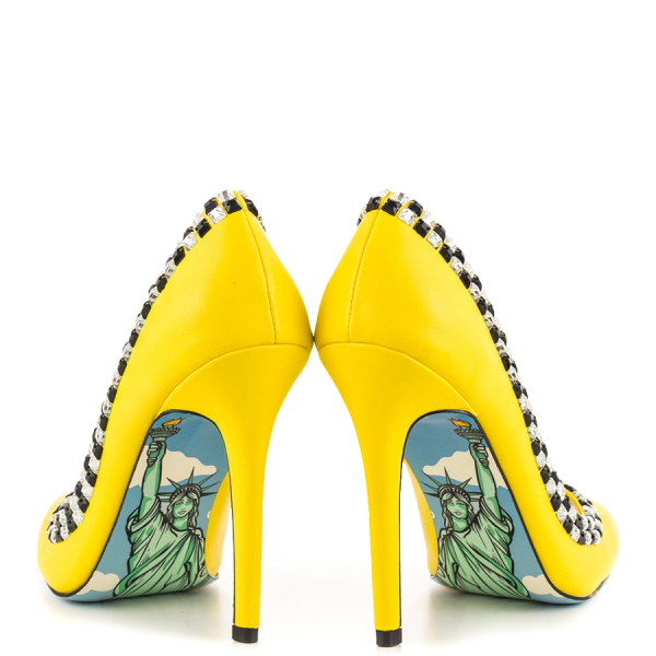 Women's Yellow Rhinestone Dress Shoes Floral Printed Stiletto Heels Pumps image 4