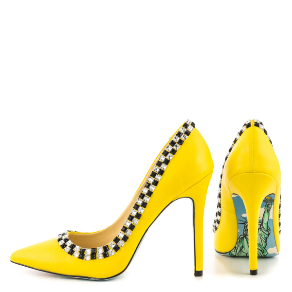 Women's Yellow Rhinestone Dress Shoes Floral Printed Stiletto Heels Pumps image 2