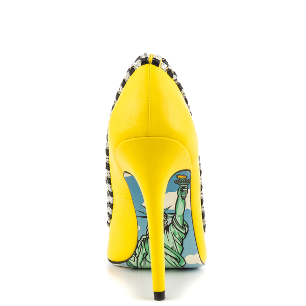 Women's Yellow Rhinestone Dress Shoes Floral Printed Stiletto Heels Pumps image 3
