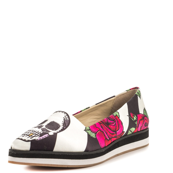 Women's Black Female Head Printed Comfortable Flats image 5