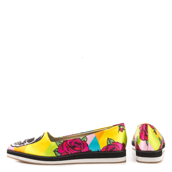 Women's Yellow Female Head Printed Round Toe Comfortable Flats image 2