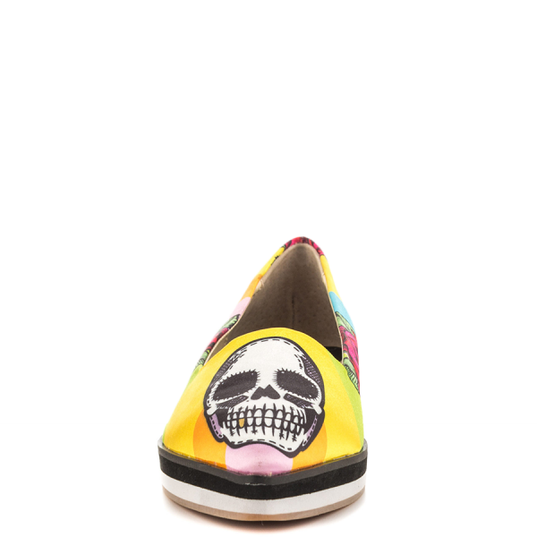 Women's Yellow Female Head Printed Round Toe Comfortable Flats image 4