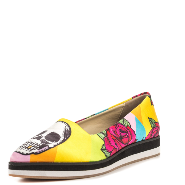 Women's Yellow Female Head Printed Round Toe Comfortable Flats image 6