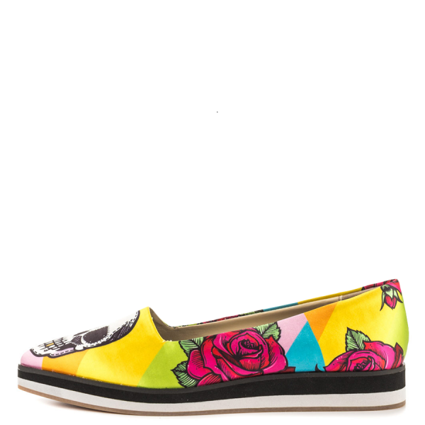 Women's Yellow Female Head Printed Round Toe Comfortable Flats image 5