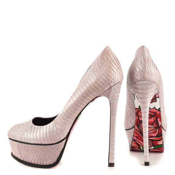 Nude Python Stiletto Heels Flower Printed Platform Heels Dress Shoes image 2