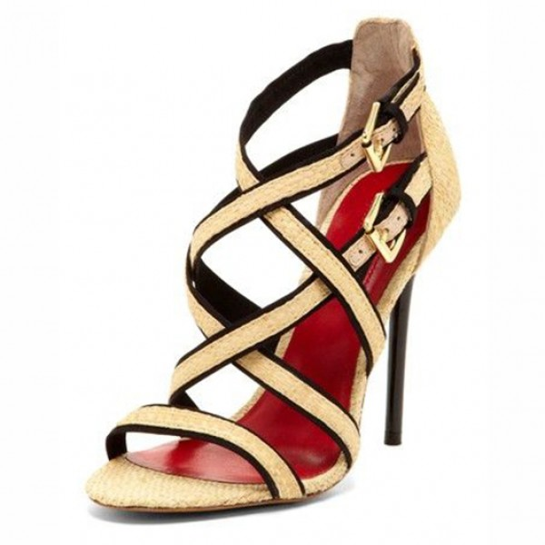 Women's Yellow Pumps Hollow Out Crossed Upper Stiletto Heels Sandals