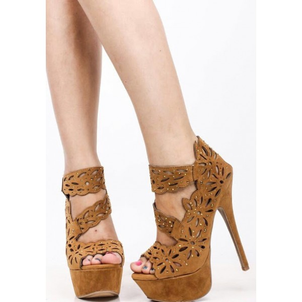 Women's Khaki Hollow Out Stilettos Platform Stripper Heels