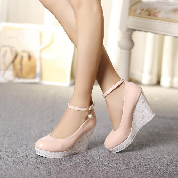 Pink Wedge Heels Round Toe Ankle Strap Pumps with Platform