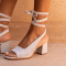 Off-white Suede Open Toe Block Heels Strappy Slingback Sandals