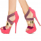 Rosy Glitter Strappy Open Toe Stiletto Heel Stripper Shoes