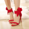 Women's Red Wedding Shoes Cute Bow Stiletto Heels Ankle Strap Sandals for Bridesmaid