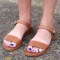 Women's Tan Open Toe Ankle Strap Sandals Comfortable Flats
