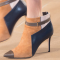 Women's Edgy Orange And Black Stiletto Boots Pointy Toe Ankle Booties