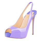 Lavender Slingback Pumps Peep Toe Stiletto Heel Shoes with Platform
