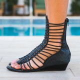 Black Gladiator Heels Mid-calf Open Toe Wedge Heels Sandals