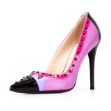 Fuchsia Studs Shoes Pointy Toe Stiletto Heel Pumps for Office Lady