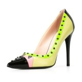 Lime Studs Shoes Pointy Toe Stiletto Heel Pumps for Office Lady