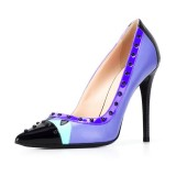 Blue Studs Shoes Pointy Toe Stiletto Heel Pumps for Office Lady