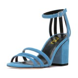 Women's Blue Chunky Heel Ankle Strap Sandals