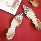 Leopard Print Flats Pointy Toe Double D'orsay Pumps Shoes