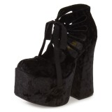 Black Hollow-out Platform Summer Boots Lace Up Chunky Heel Ankle Boots