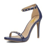 Navy Ankle Strap Sandals Stiletto Heels with Rivets